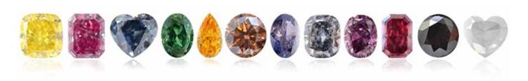Натуральные цветные бриллианты разных цветов