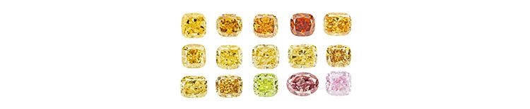 Разнообразие бриллиантов синтетических фантазийных цветов
