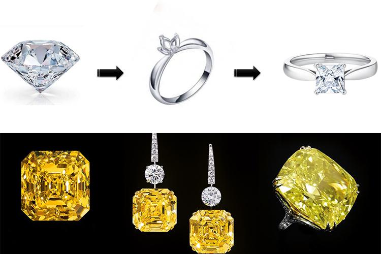кольца и серьги с огранки бриллиантов